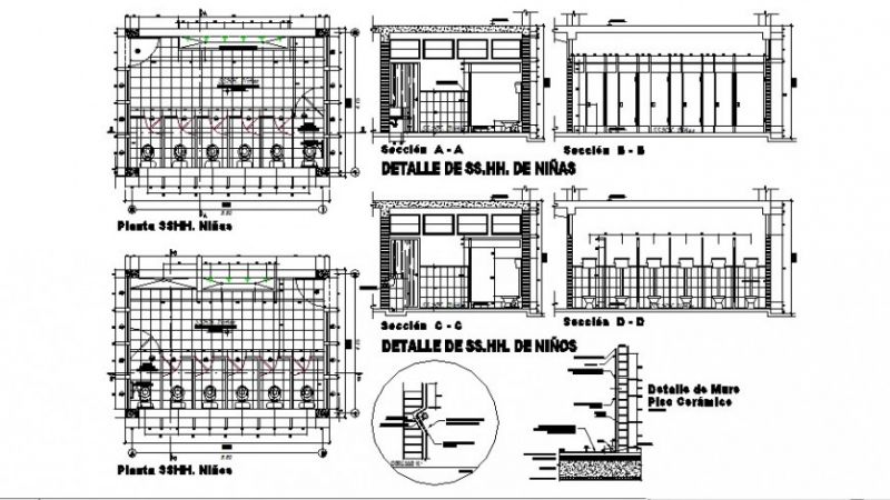 Public Toilet and Bathroom Plan Elevation Detail Drawing in autocad