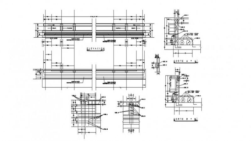 Urban bridge elevation, section and constructive structure