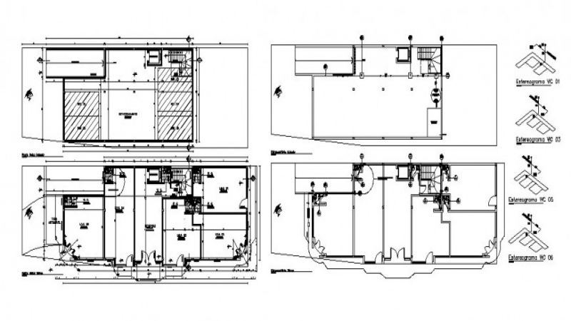 Shopping center floors plan, elevation, section and sanitary