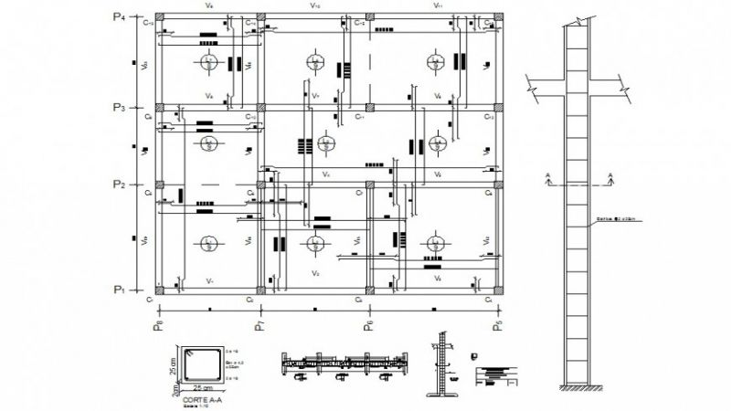 Column and beam structure detail 2d drawing layout dwg file