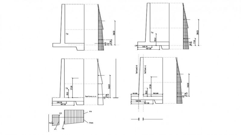 Retaining wall structure detail 2d view CAD construction
